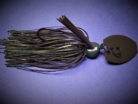 Bladed Swim Jig: Natural Craw/ Green, Gold with green pumpkin blade