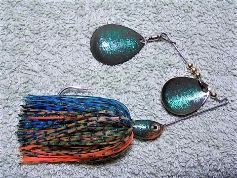 Colorado Double Deep Cup Spinnerbait + holo glitter  : Bluegill Holo
