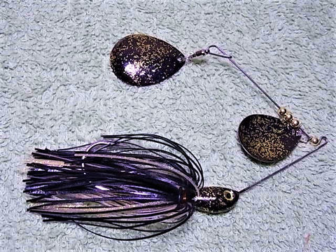 Colorado Double Deep Cup Spinnerbait + holo glitter  : Black/Glow Holo