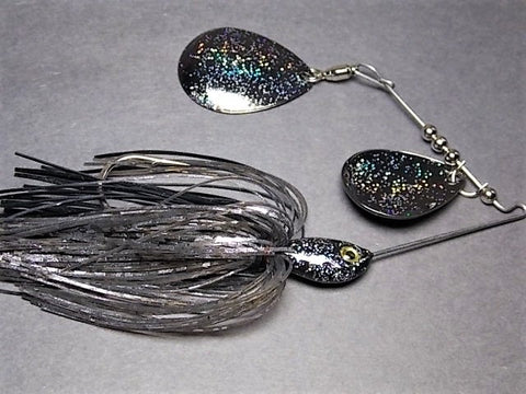 Colorado Double Deep Cup Spinnerbait + holo glitter: Black Shad Holo