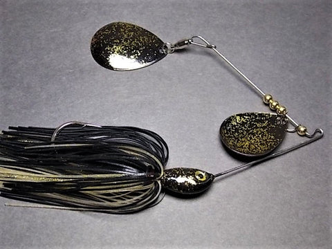 Colorado Double Deep Cup Spinnerbait + holo glitter: Black/Gold Holo