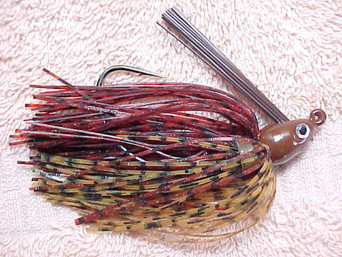 Premier Swim Jigs: Rust Barb Wire/Amber Blue