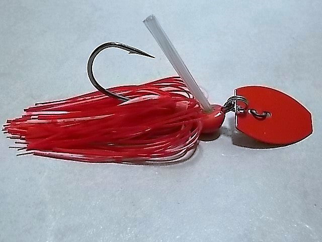 Bladed Swim Jig: All Red/Pearl