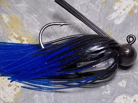 Football Jigs, Tournament Edition: Black with Blue Tip