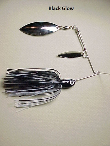 Spinnerbaits, Double Willow: Black/ Glow