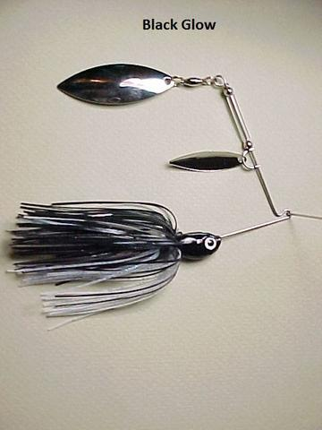 Double Willow Spinnerbait: Black/ Glow
