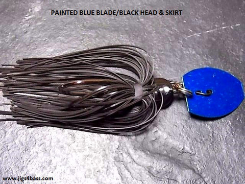 Bladed Swim Jig: Black Head & Skirt, Blue Blade