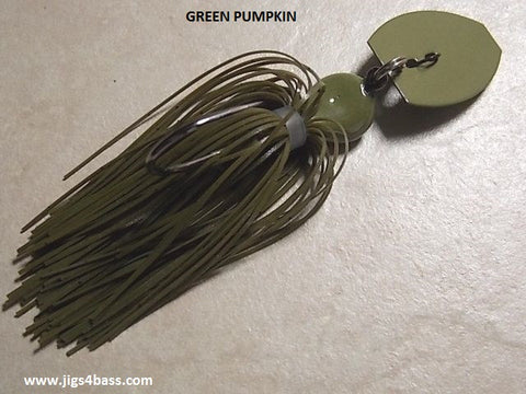 Bladed Swim Jig: Green Pumpkin, Green  Pumpkin Painted Blade