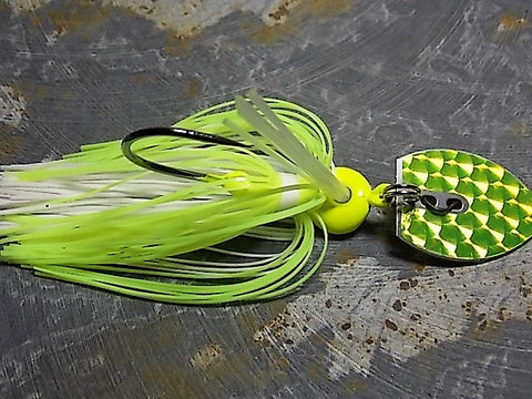 Bladed Swim Jig: Chartreuse/White