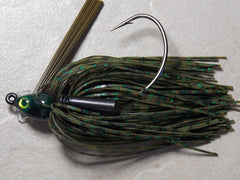 Swim Jigs: Tournament Line: Green Pumpkin Barb Wire, Green Glitter