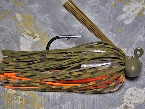Football Jigs, Tournament Edition: Green Pumpkin/ Whiskey/ Orange