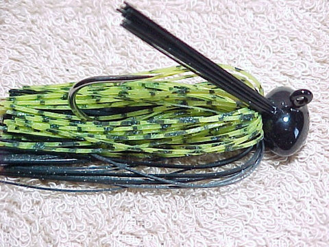Football Head Jigs:Green Chartreuse Barb Wire/ Black