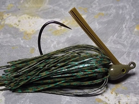 Premier Swim Jigs: Green Pumpkin Barb Wire, Green Glitter