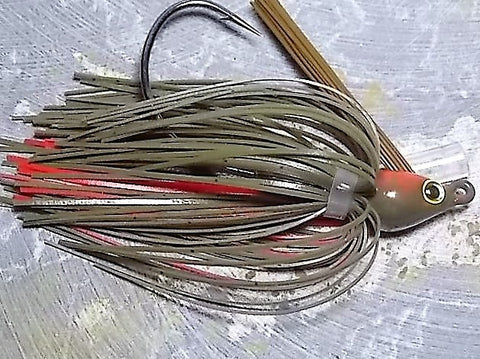 Premier Swim Jigs: Green Pumpkin/Red
