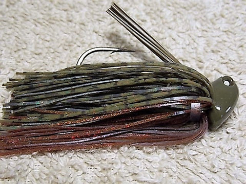 Flippn/Pitchn Jig: Green Whiskey Copper Flake/ Motor oil