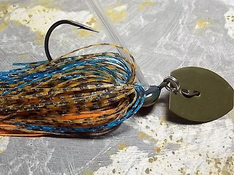 Bladed Swim Jig: Toms Bluegill, Green Pumpkin Blade