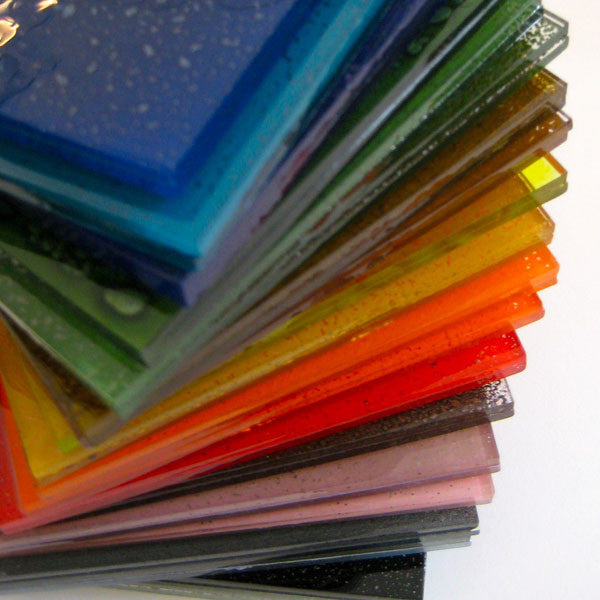 Full set of glass enamel powders used in glass fusing with a kiln