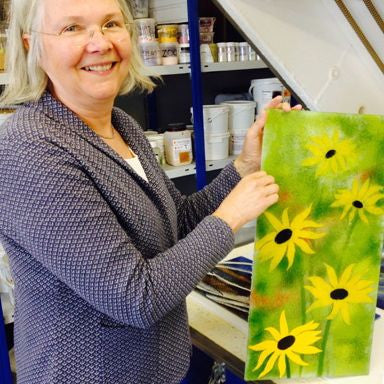 Full day glass fusing course in Wales. Learn to fuse glass with enamel powders.