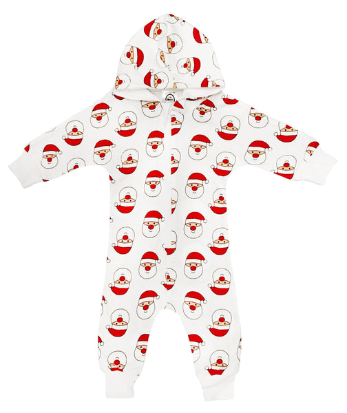 Santa Face Christmas Hooded Jumpsuit