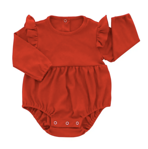 Red Long Sleeve Flutter Onesie