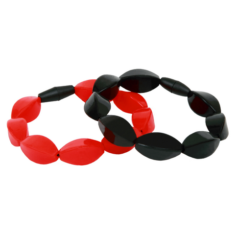 mummabubba teething jewellery tulip bracelet black and red