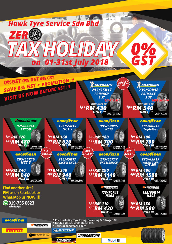 PROMOSI ZERO TAX HOLIDAY! 1-31ST JULY 2018