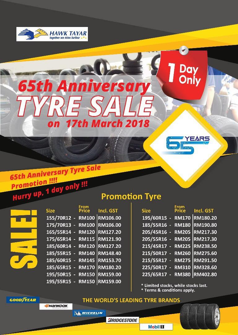 65TH ANNIVERSARY TYRE SALE ON 17TH MARCH 2018