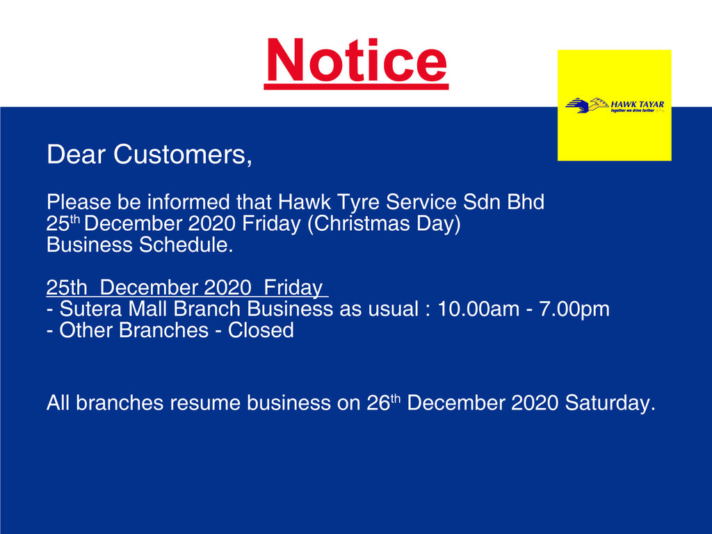 Christmas Day Business Schedule - Hawk Tyre