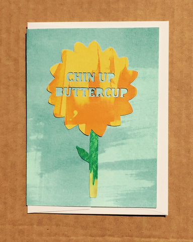 Chin Up Butter cup hand painted flower sympathy card