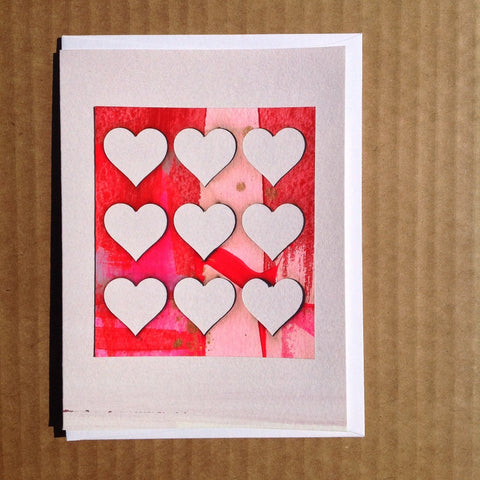Hand-painted nine hearts greeting card valentines day