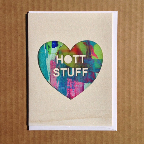Hot stuff hand painted valentines day greeting card inspired by candy hearts