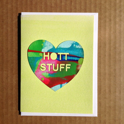 Lime hot stuff greeting card for valentines day that is hand-painted and handmade candy hearts
