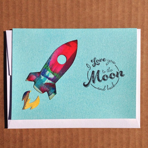 Hand-painted I love you to the moon and back greeting card
