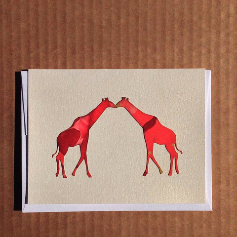 Two giraffes kissing hand-painted anniversary greeting card
