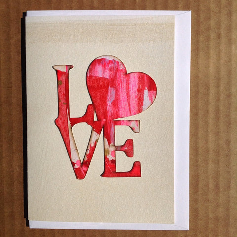 LOVE Indiana greeting card hand-painted artist Valentines day card