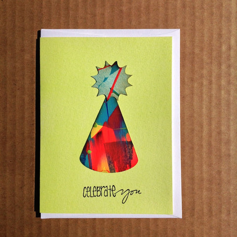 Hand-Painted birthday party hat greeting card.