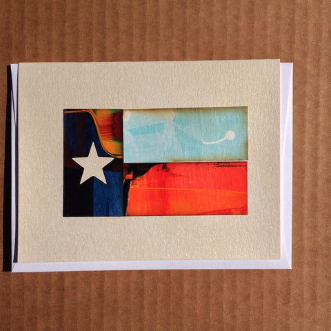 Handpainted Texas flag greeting card lonestar flag