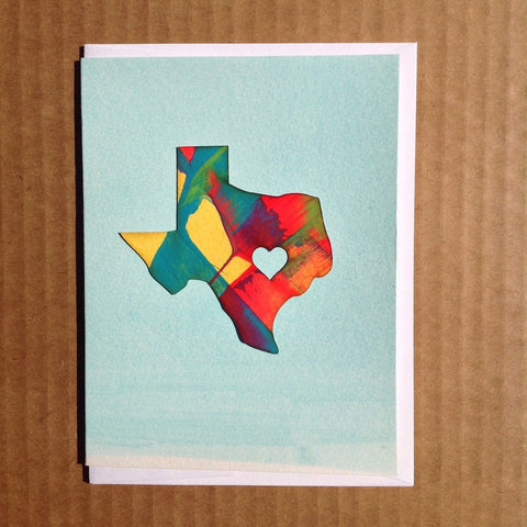 Texas heart state handpainted handmade greeting card