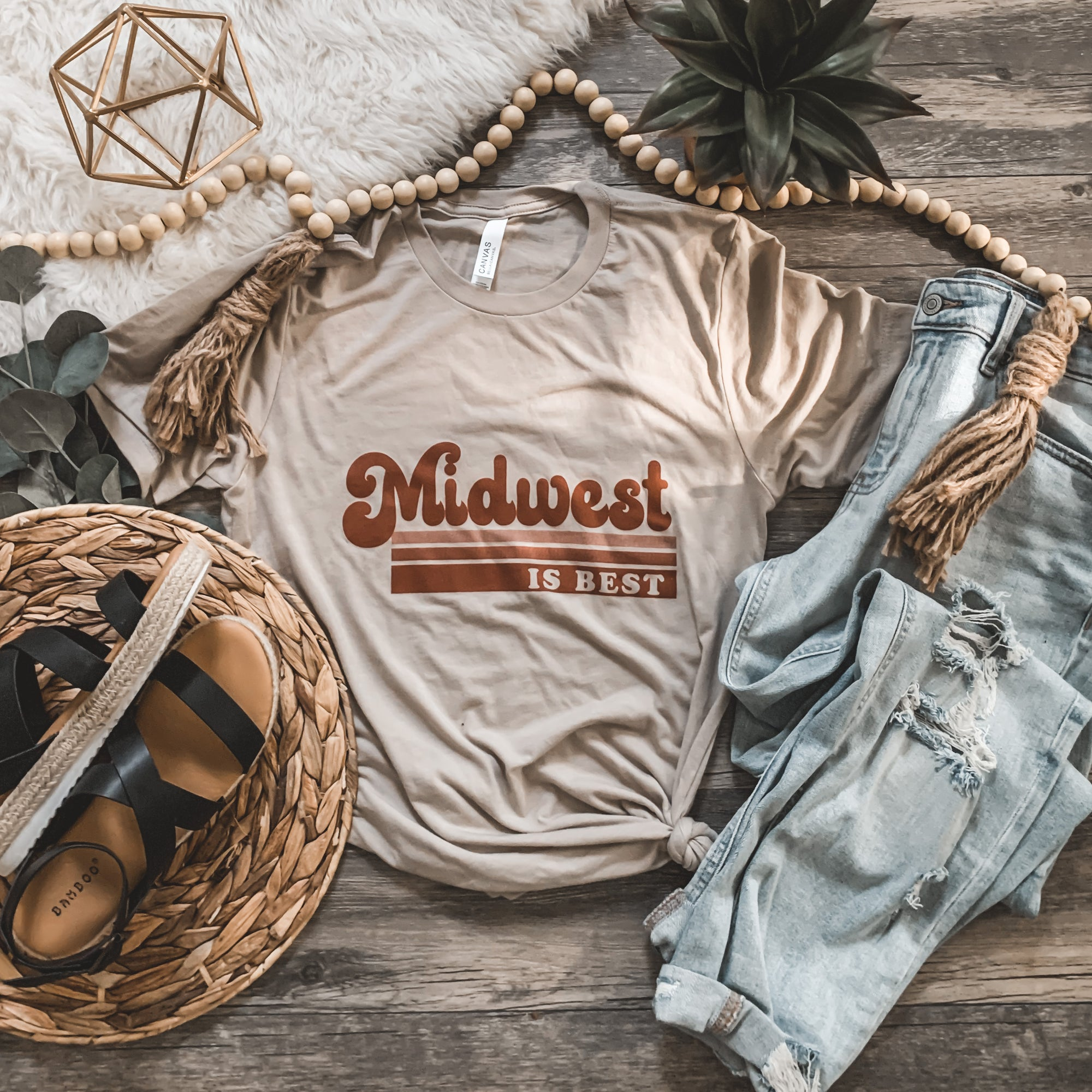 """Midwest is Best"" Graphic Tee in Tan - Rosebud's Tees"