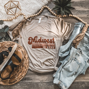 """Midwest is Best"" Graphic Tee in Tan"