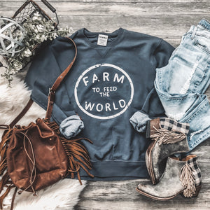 Feed The World Sweatshirt - NAVY - Rosebud's Tees