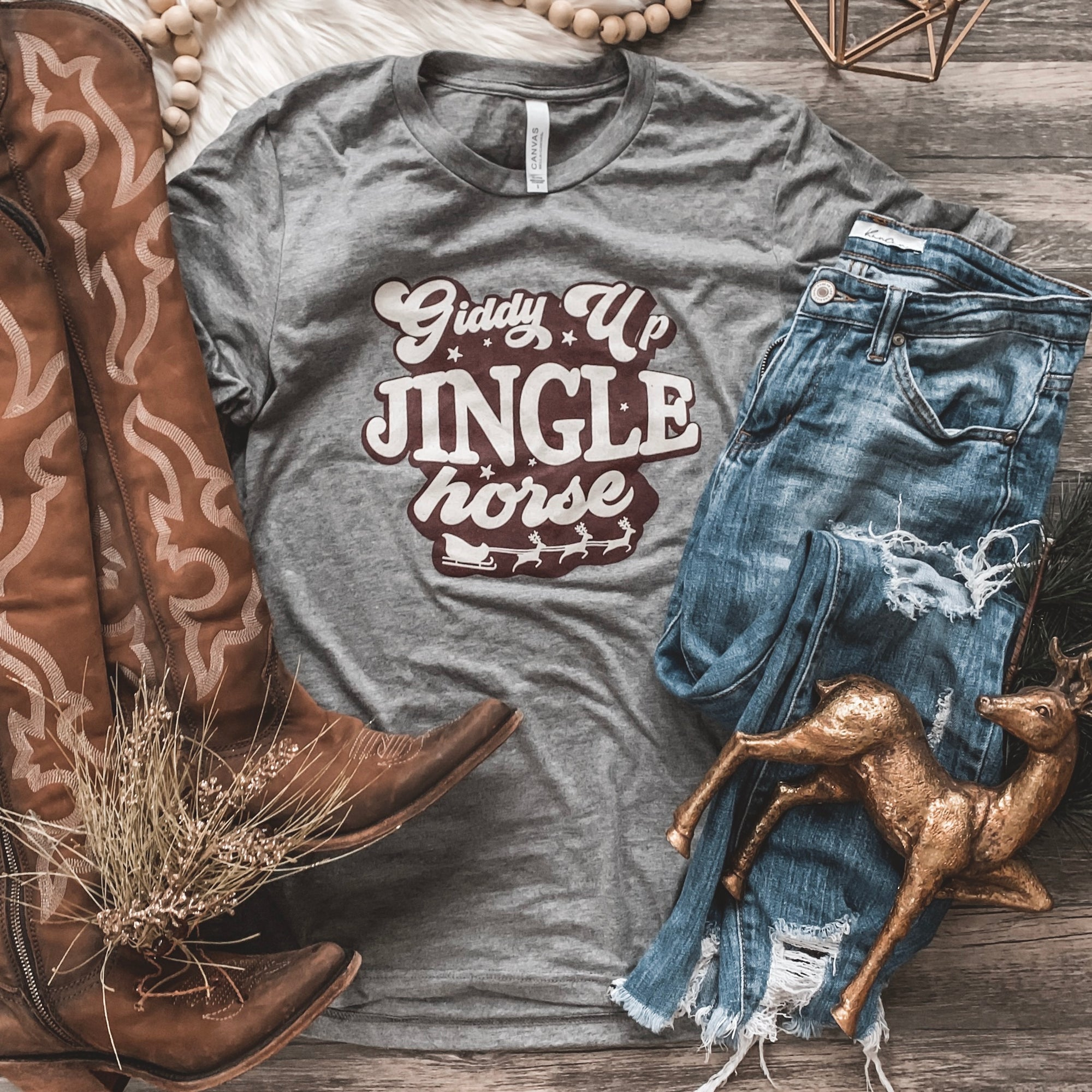 """Jingle Horse"" Graphic Tee - Rosebud's Tees"