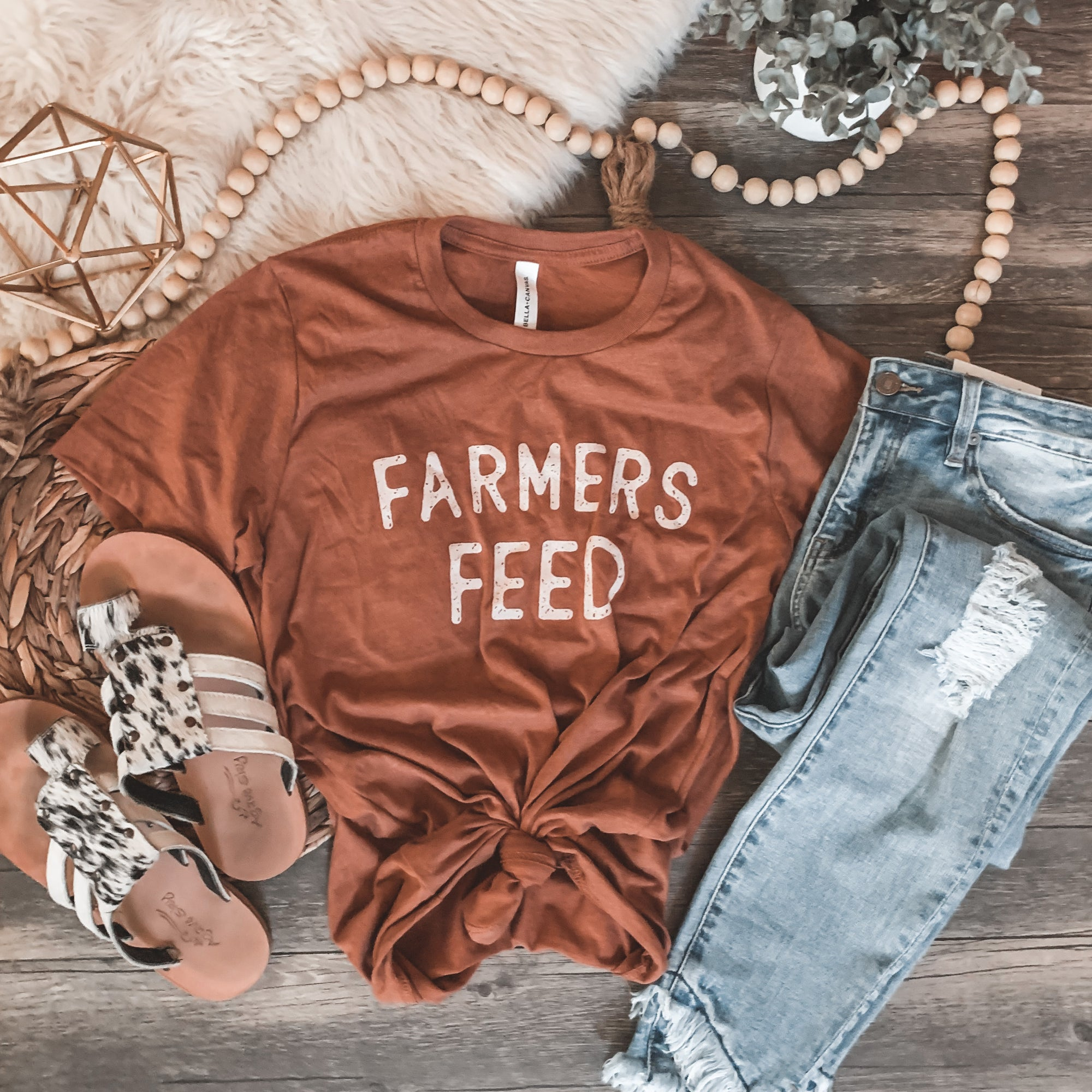 """Farmers Feed"" Graphic Tee in Heather Autumn - Rosebud's Tees"