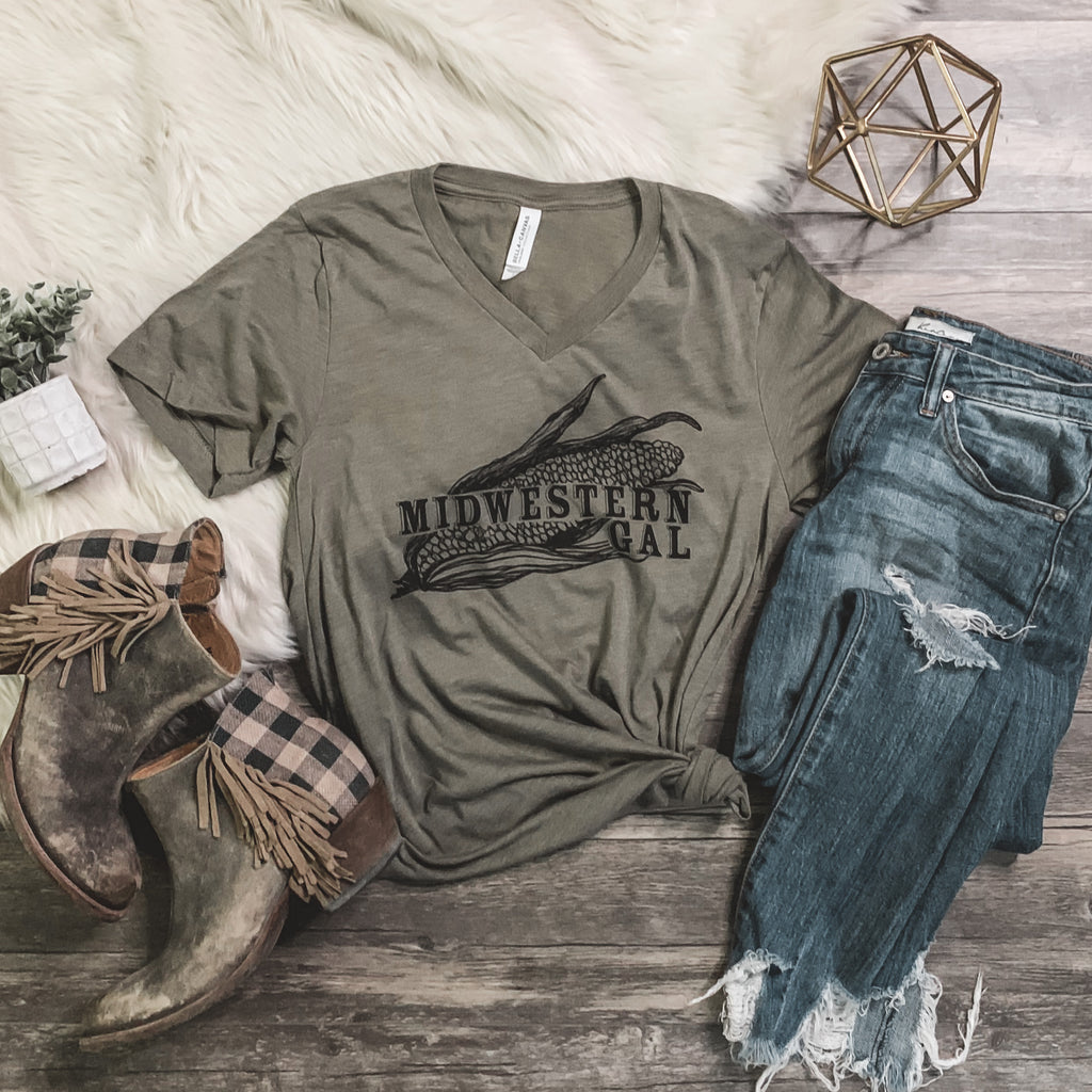 """Midwestern Gal"" V - Neck Graphic Tee - Rosebud's Tees"
