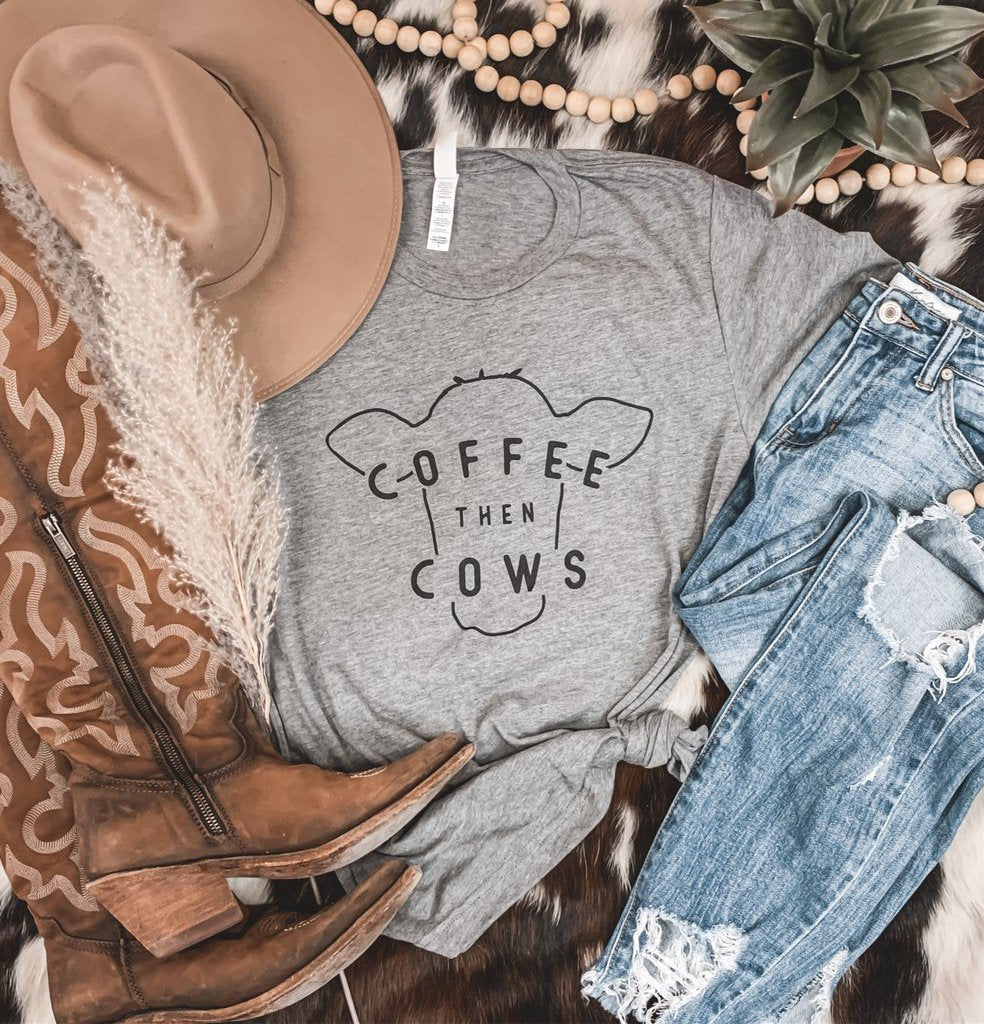 """Coffee then Cows"" Graphic Tee in Gray"