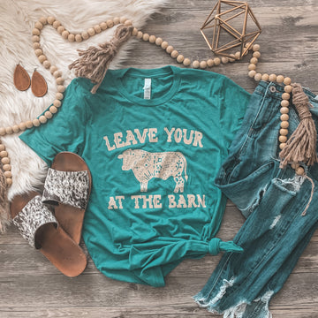 """Leave the Bull At the Barn"" Graphic Tee in Teal"