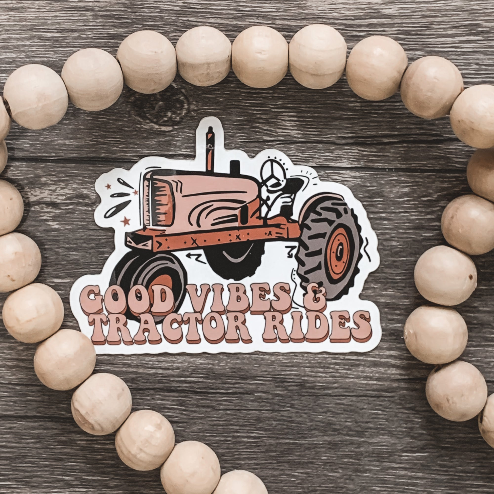 Good Vibes and Tractor Rides Retro Sticker