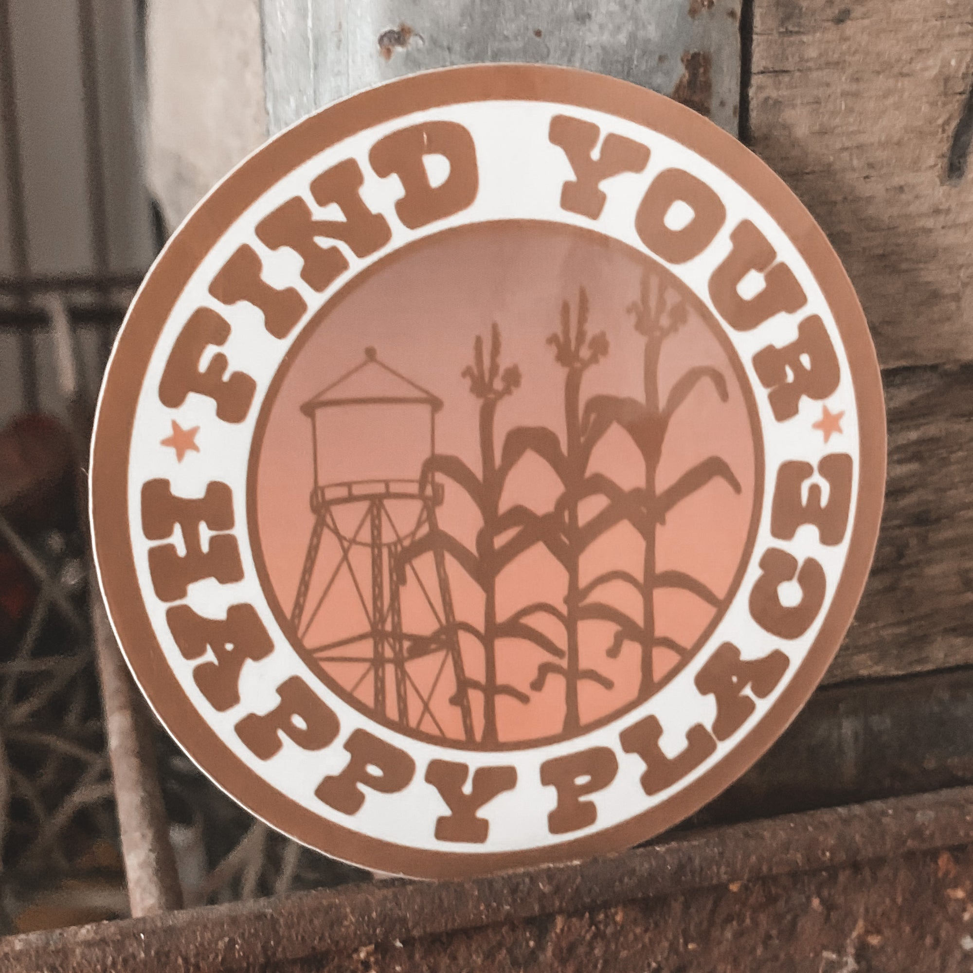 Find Your Happy Place Round Sticker - Rosebud's Tees