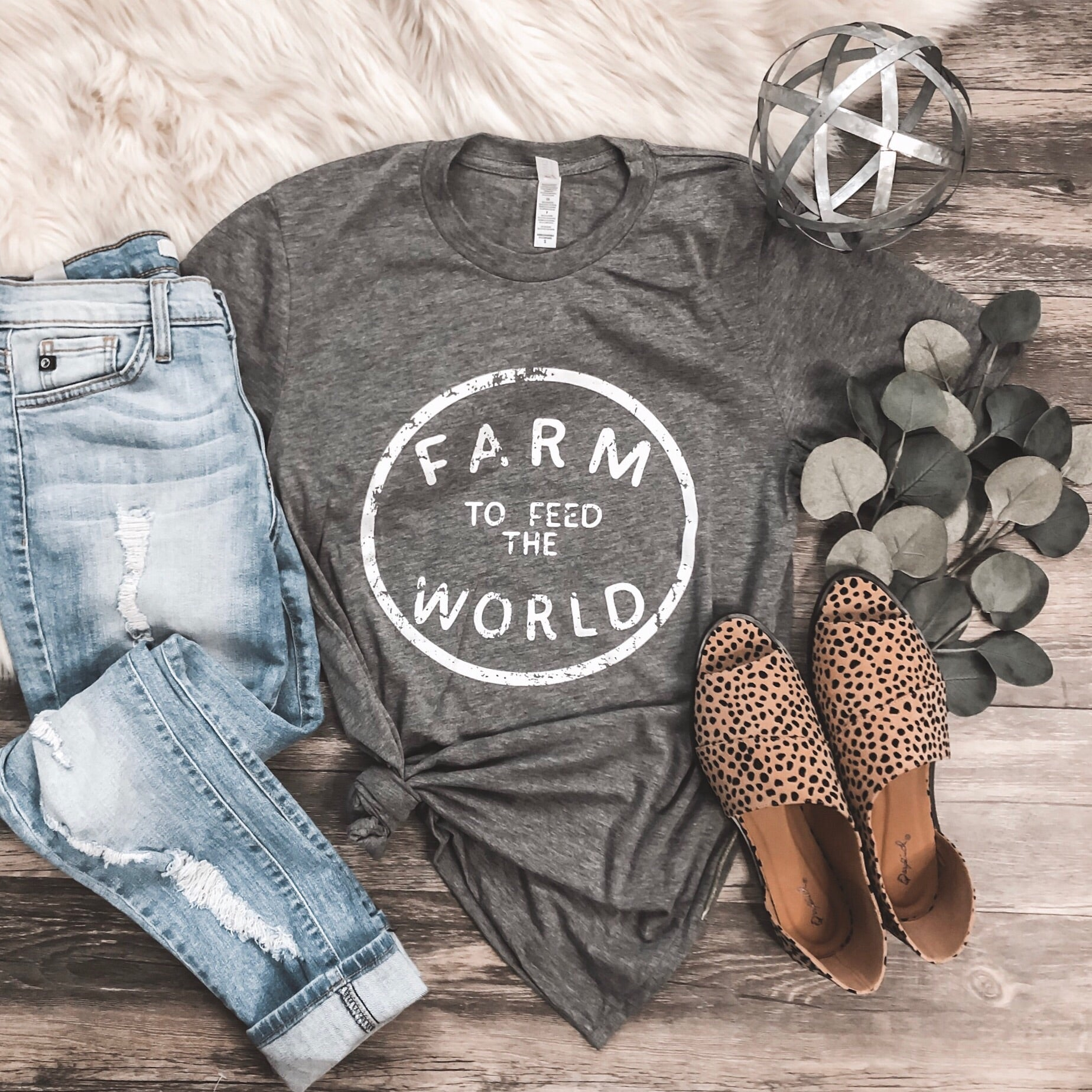 """Feed the World"" Gray Graphic Tee - Rosebud's Tees"