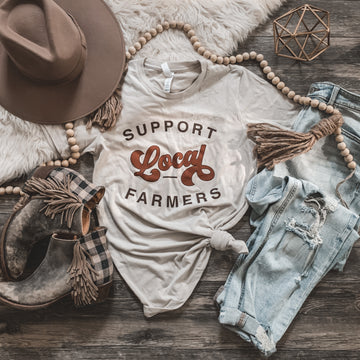 """""""Support Local Farmers"""" Graphic Tee In Dust"""